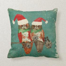 Rose Owls Christmas MoJo Pillow