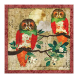 Rose Owls Full Moon Gallery Wrapped Canvas