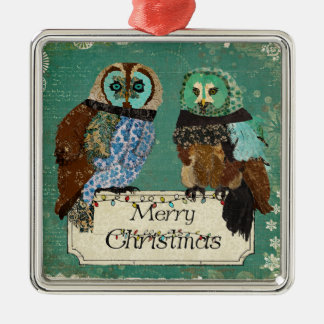 Rose Owls Merry Christmas Ornament