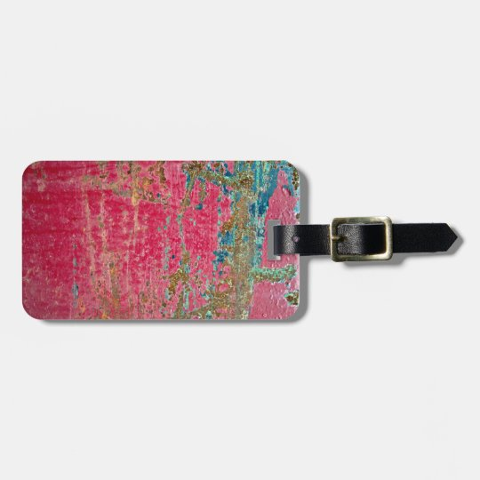 Rose Painted Metal Texture Bag Tag