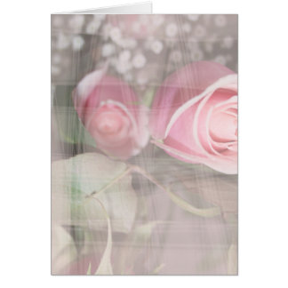 rose painted over buds grunged flower image pink greeting card