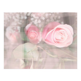 rose painted over buds grunged flower image pink full color flyer