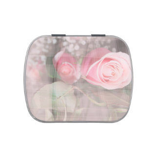 rose painted over buds grunged flower image pink jelly belly candy tins