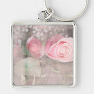 rose painted over buds grunged flower image pink key chains