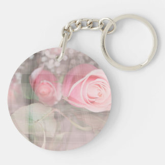 rose painted over buds grunged flower image pink acrylic keychain