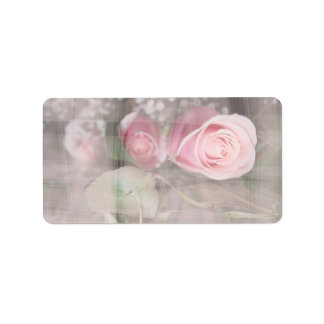 rose painted over buds grunged flower image pink address label
