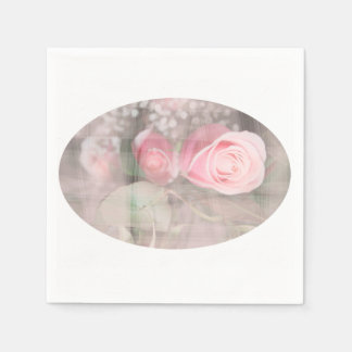 rose painted over buds grunged flower image pink napkin