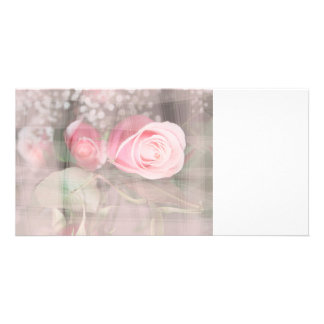 rose painted over buds grunged flower image pink picture card