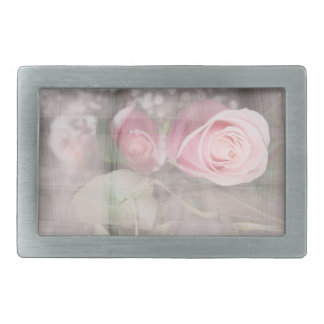 rose painted over buds grunged flower image pink rectangular belt buckle