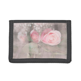 rose painted over buds grunged flower image pink trifold wallets
