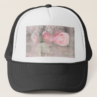 rose painted over buds grunged flower image pink trucker hat