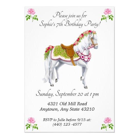 Rose Parade Horse Birthday Invitations