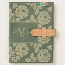 Rose pattern and monogram floral handmade canvas journal