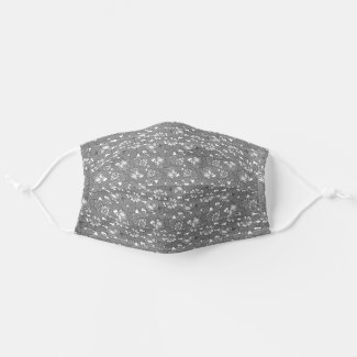 Rose pattern Gray Cloth Face Mask
