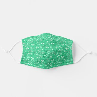 Rose pattern Green Cloth Face Mask