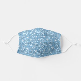 Rose pattern in light Blue Cloth Face Mask