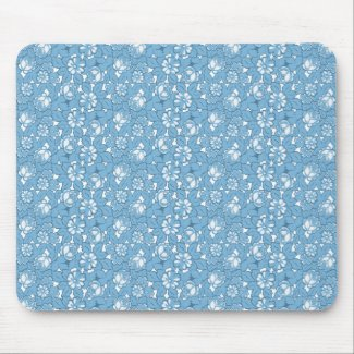 Rose pattern in light Blue Mouse Pad