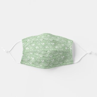 Rose pattern in light Green Cloth Face Mask