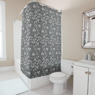 Rose pattern in red in Grey Shower Curtain