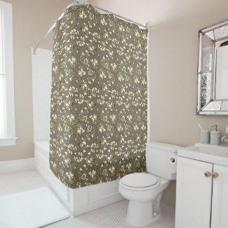 Rose pattern in red in Sepia Shower Curtain