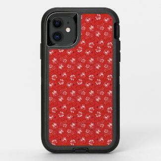 Rose pattern in red OtterBox defender iPhone 11 case
