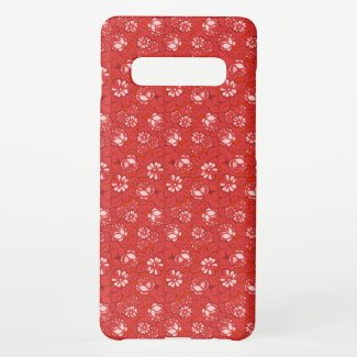Rose pattern in red samsung galaxy case