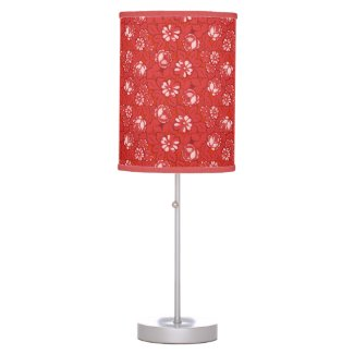 Rose pattern in red table lamp