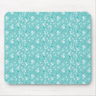 Rose pattern in turquoise mouse pad