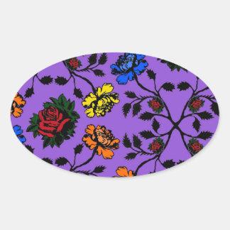 rose pattern no.5 oval sticker