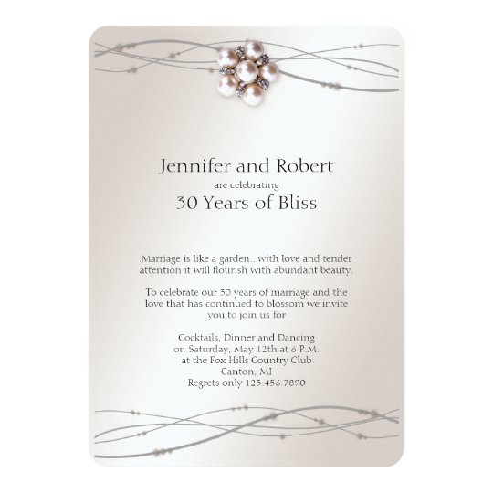 Rose Pearl 30th Wedding Anniversary Invitation