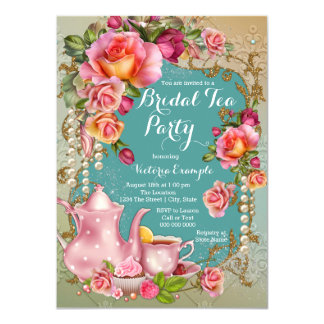 Rose Pearl Bridal Tea Party Card