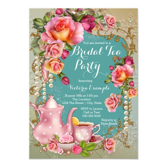 rose pearl bridal tea party invitation zazzle com