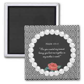 Rose Pearl Egyptian Pattern Black White Monogram 2 Inch Square Magnet