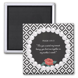 Rose Pearl Knit Pattern Black White Monogram 2 Inch Square Magnet