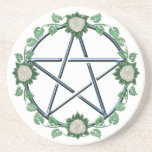 """Rose Pentagram Pentacle Pagan Witch Altar Paten Sandstone Coaster<br><div class=""""desc"""">I offer this design on multiple products here at Zazzle.  If you&#39;d like to see the design on a product I haven&#39;t created yet,  just ask!  I&#39;m always happy to accommodate requests.</div>"""