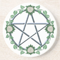 Rose Pentagram Pentacle Pagan Witch Altar Paten Sandstone Coaster