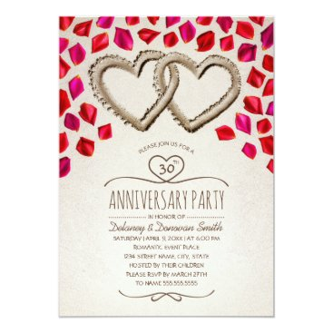 Beach Themed Rose Petal Beach 30th Wedding Anniversary Party Card