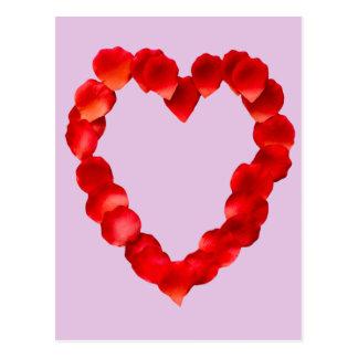 Rose Petal Heart Shape Postcard