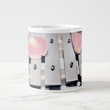 Rose Petals on Metal Bells Faded style 20 Oz Large Ceramic Coffee Mug