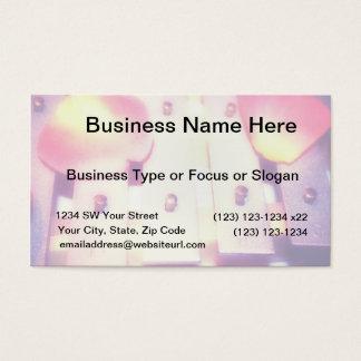 Rose Petals on Metal Bells Purple Pink themed Business Card