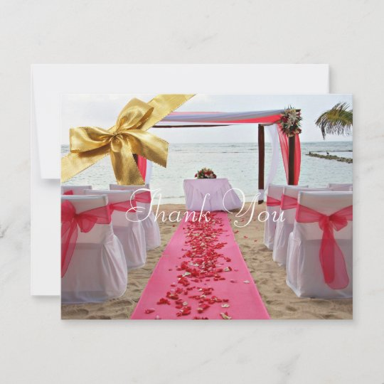 Rose Petals On Red Carpet Wedding Thank You Card2 Zazzle Com