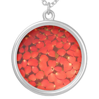 rose petals silver plated necklace