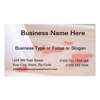 Rose Petals Wedding Dress Train tan background Business Card Templates