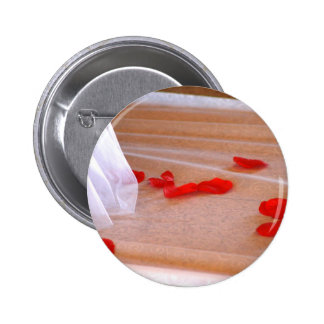 Rose Petals Wedding Dress Train tan background Pinback Button