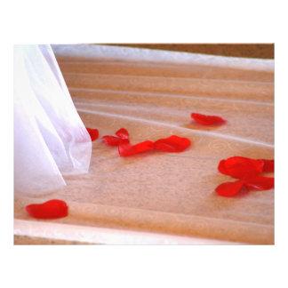 Rose Petals Wedding Dress Train tan background Flyer Design