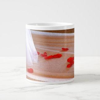 Rose Petals Wedding Dress Train tan background Giant Coffee Mug