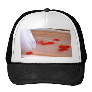 Rose Petals Wedding Dress Train tan background Trucker Hats