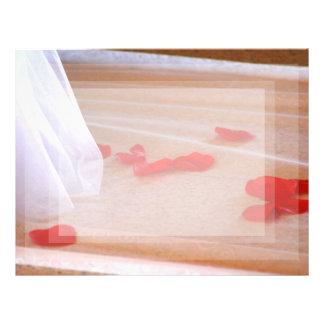 Rose Petals Wedding Dress Train tan background Customized Letterhead
