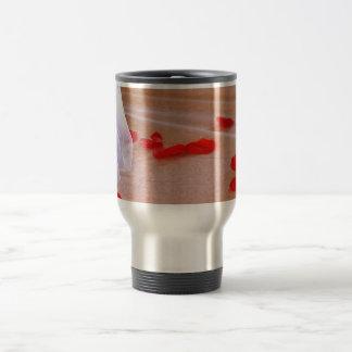 Rose Petals Wedding Dress Train tan background Coffee Mug