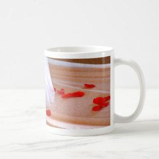 Rose Petals Wedding Dress Train tan background Mug